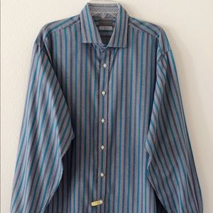 Thomas Dean Mens LS Shirt Size XXL Gray Striped